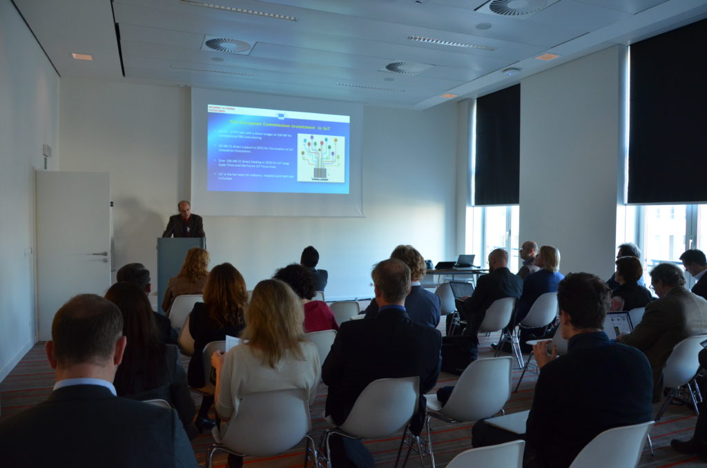 Interested participants listen to the talk of Georgios Tselentis, DG Connect on EU Investments on IoT.